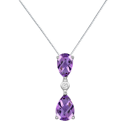 Womens Lab Created Purple Amethyst Sterling Silver Pendant Necklace