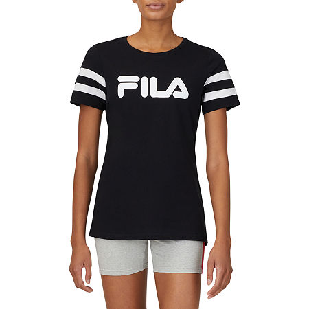 Fila Throwback Tee Womens Crew Neck Short Sleeve T-Shirt, X-large , Black