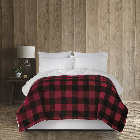 Home Expressions Faux Mink to Faux Sherpa Comforter, One Size , Red - 72138030042