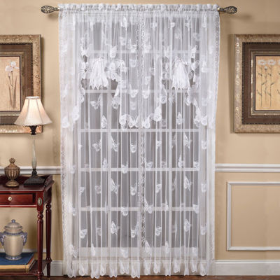 Saturday Knight Butterfly Lace Sheer Rod-Pocket Single Curtain Panel