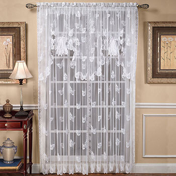 Erfly Lace Rod Pocket Curtain Panel, Lace Curtains Band