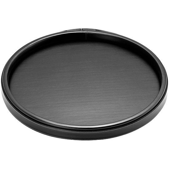 """Kraftware Leatherette Stitched 14"""" Round Serving Tray"""