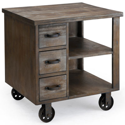 Madison Park Industrial Wheeled End Table