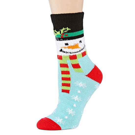 Womens Ugly Sweater Snowman Crew Socks