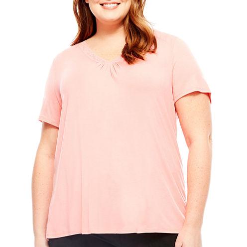 Ambrielle Short Sleeve Pajama Top-Plus