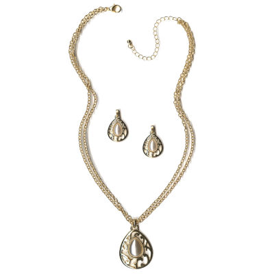 mixit womens 2 pc white jewelry set jcpenney