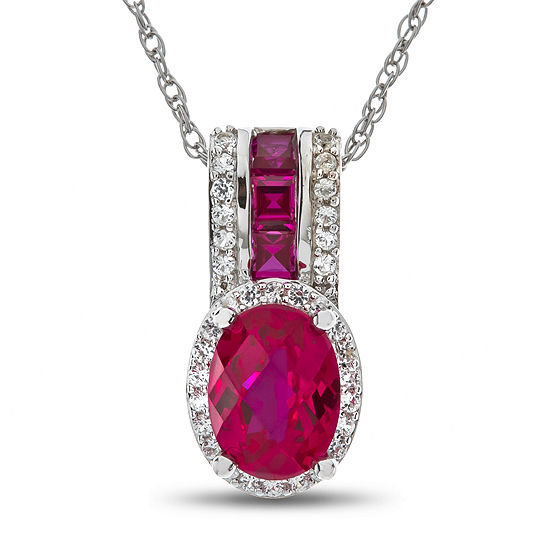Lab-Created Ruby & White Sapphire Sterling Silver Pendant Necklace
