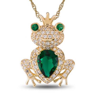 Womens Simulated Emerald Sterling Silver Gold Over Silver Pendant Necklace