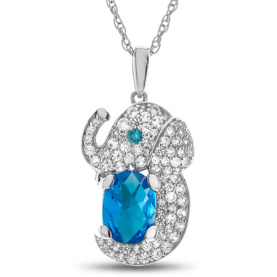 Womens Simulated Blue Topaz Sterling Silver Pendant Necklace