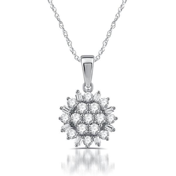 Fine Jewelry Womens 1/2 CT. T.W. White Diamond 10K Gold Pendant Necklace 698RgP4