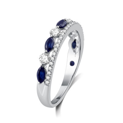 I Said Yes Womens 1/3 CT. T.W. Genuine Blue Sapphire Platinaire Band