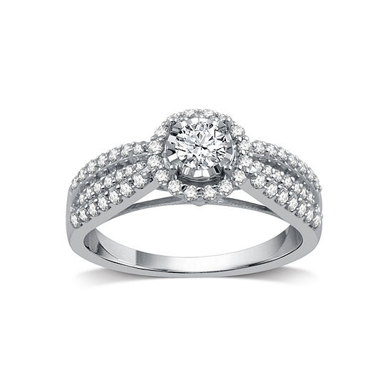 I Said Yes Womens 3 4 Ct Tw Genuine White Diamond Platinaire Engagement Ring