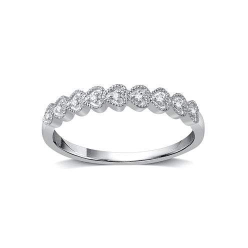 Womens Diamond Accent Genuine Round White Diamond 10K Gold Band