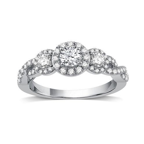 Womens 1 CT. T.W. Genuine Round White Diamond 14K Gold Engagement Ring