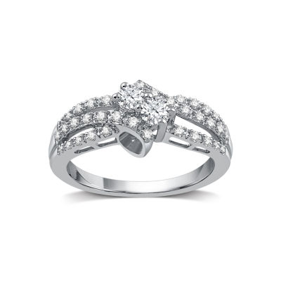Womens 1/2 CT. T.W. Round White Diamond 10K Gold Engagement Ring