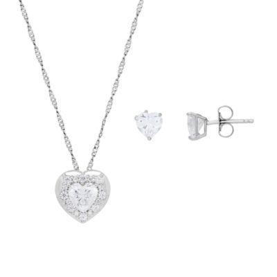Diamonart Womens 2-pc. Cubic Zirconia Sterling Silver Jewelry Set