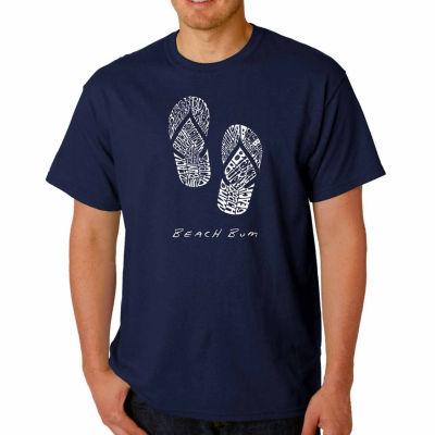 Los Angeles Pop Art Beach Bum Short Sleeve Word Art T-Shirt - Big and Tall