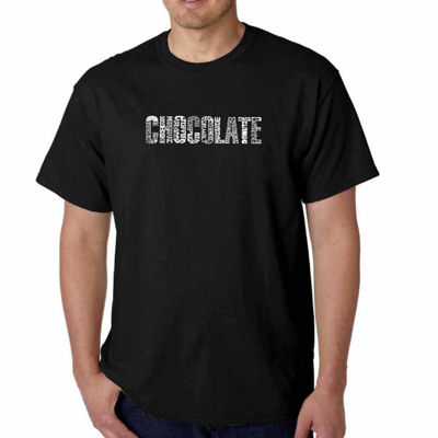 Los Angeles Pop Art Different Foods Made With Chocolate Short Sleeve Word Art T-Shirt - Big and Tall