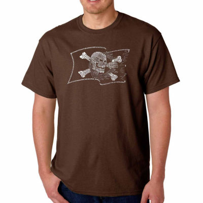 Los Angeles Pop Art Famous Pirate Captains and Ships Short Sleeve Word Art T-Shirt - Big and Tall