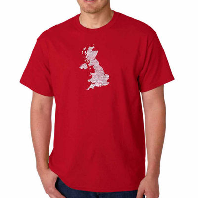Los Angeles Pop Art God Save The Queen Short Sleeve Word Art T-Shirt-Men's Big and Tall