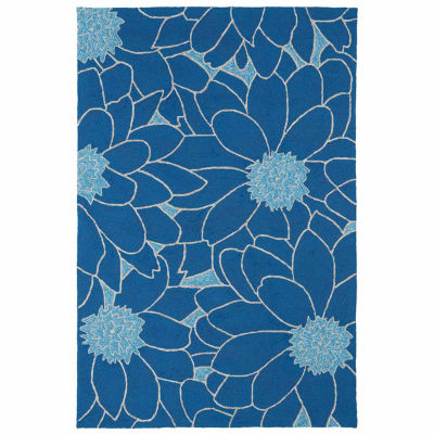 Kaleen Home And Porch Blue Flower Hand Tufted Rectangular Rugs