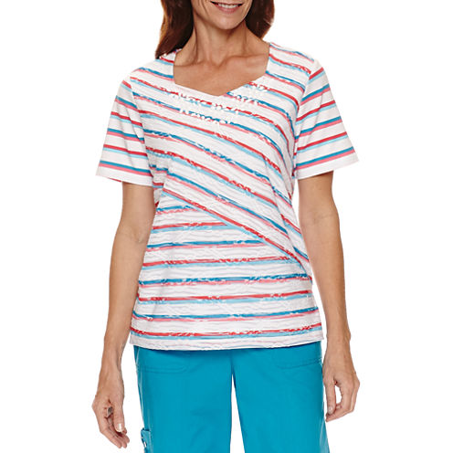 Alfred Dunner Tropical Vibe Short Sleeve Spliced Stripe T-Shirt