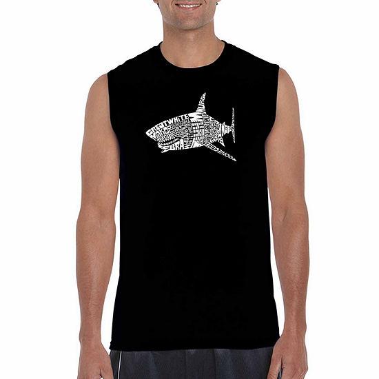 Los Angeles Pop Art Men's Species of Shark Sleeveless T-Shirt - Big and Tall