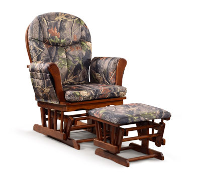 Tenbury Wells Home Deluxe Camouflage Fabric Cushion Glider Chair and Ottoman Set