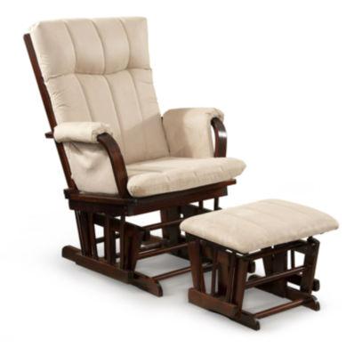 Tenbury Wells Home Deluxe Mocha Microfiber Cushion Glider Chair and Ottoman Set
