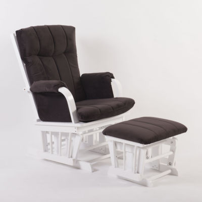 Tenbury Wells Home Deluxe Brown Microfiber and White Glider and Ottoman set