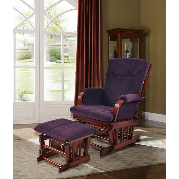 Tenbury Wells Home Deluxe Microfiber Cherry Wood Glider and Ottoman Set