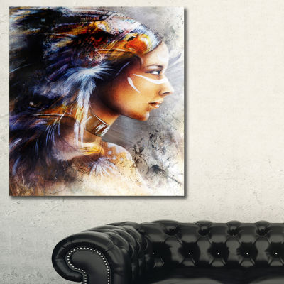 Designart Woman With White Horse Eagles Indian Canvas Art Print