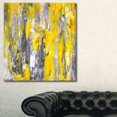Designart Grey And Yellow Abstract Pattern CanvasPrint