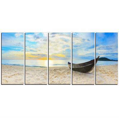 Designart Calm Beach Panorama Photography Canvas Art Print - 5 Panels