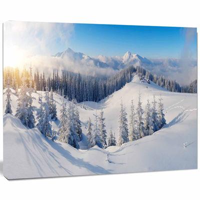 Designart Winter Mountains Panorama Photography Canvas Art Print