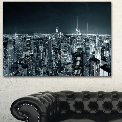 Designart New York City Skyline At Night CityscapePhoto Canvas Print