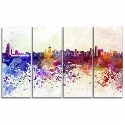 Designart Chicago Skyline Cityscape Canvas Art Print - 4 Panels