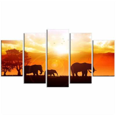 Design Art Elephants Walking At Sunset African Canvas Art Print - 5 Panels