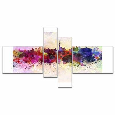 Designart Toronto Skyline Cityscape Canvas ArtworkPrint - 4 Panels