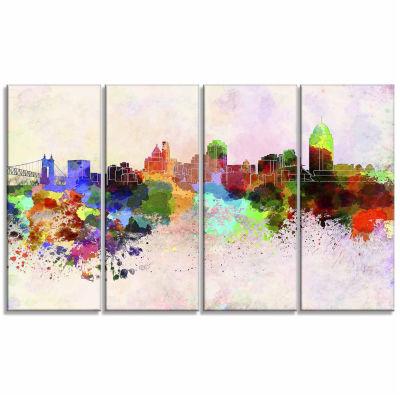 Designart Cincinnati Skyline Cityscape Canvas Artwork Print - 4 Panels