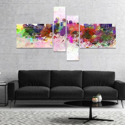 Designart Kansas City Skyline Cityscape Canvas Artwork Print - 4 Panels