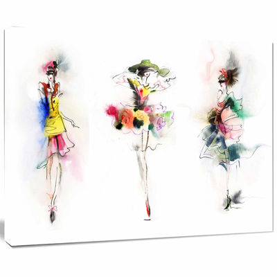 Designart Fashion Girls Posing Contemporary CanvasArt Print