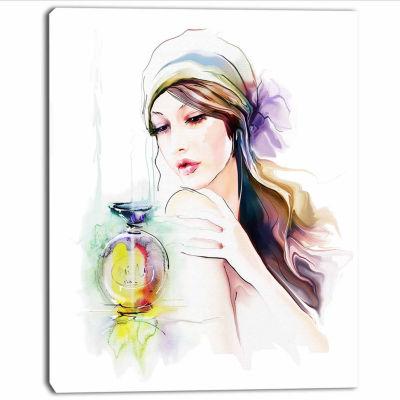 Designart Woman With Perfume Bottle Portrait Contemporary Canvas Art Print