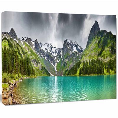 Designart Mountain Lake Panorama Photography Canvas Art Print