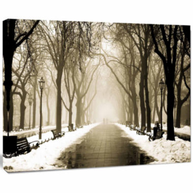 Design Art Fog In Alley Vintage Style Landscape Photography Canvas Print