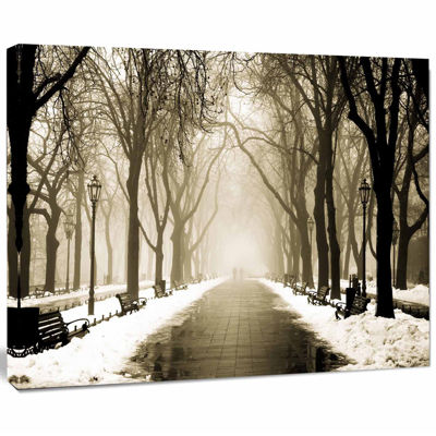 Designart Fog In Alley Vintage Style Landscape Photography Canvas Print