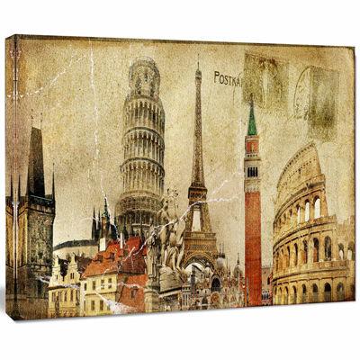 Designart Vintage Postal Card Contemporary CanvasArt Print