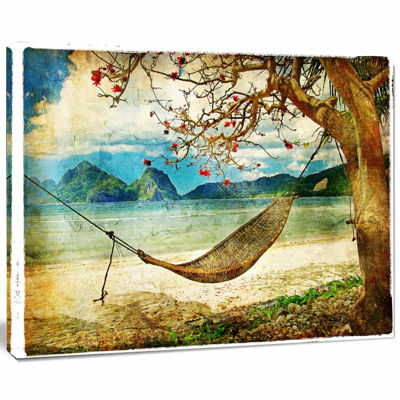 Design Art Tropical Sleeping Swing Digital Art Landscape Canvas Print