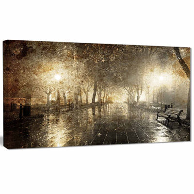 Designart Night Alley With Lights Photography Landscape Canvas Print