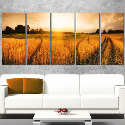 Designart Wheat Field At Sunset Panorama Photography Canvas Art Print - 5 Panels